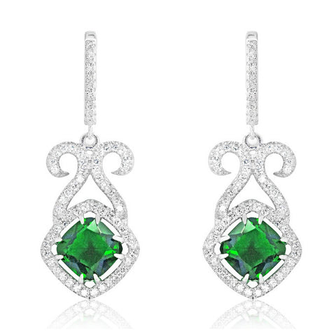 Cushion Green Crystal and CZ 925 Sterling Silver Earrings