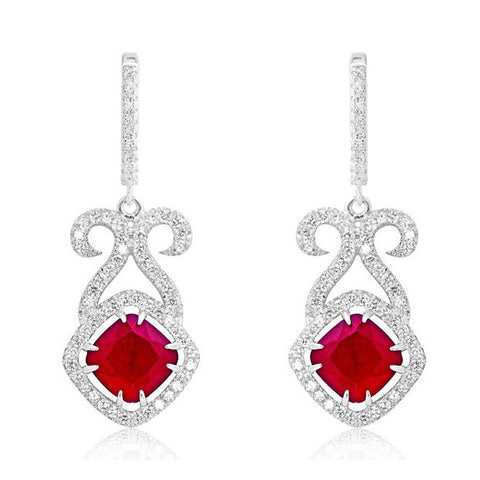 Cushion Dark Red Crystal and CZ 925 Sterling Silver Earrings