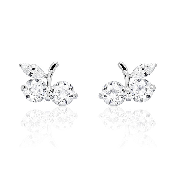 Lovely Cherry 925 Sterling Silver Cubic Zirconia Earrings - Jewelry - Prjewel.com - 1