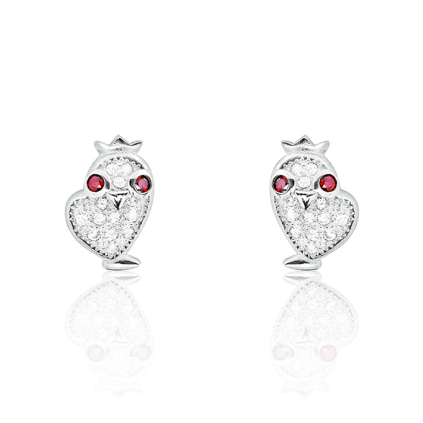 Smart Chick With Crown 925 Sterling Silver Red Crystal Earrings