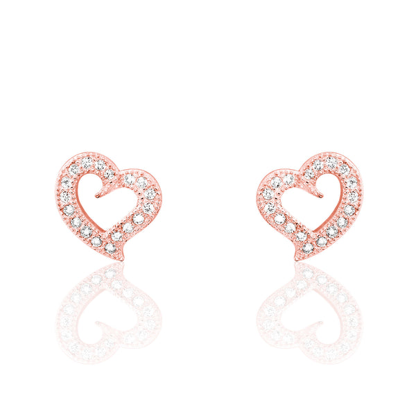 CZ Stylish Heart Rose Gold Plated 925 Sterling Silver Earrings - Jewelry - Prjewel.com - 1