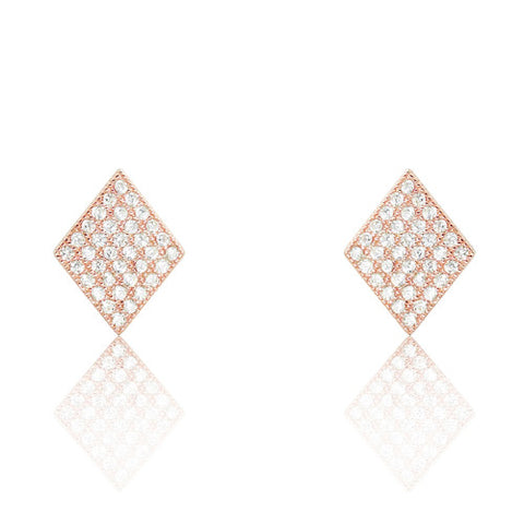 Rose Gold Plated 925 Sterling Silver CZ Rhombus Earrings - Jewelry - Prjewel.com - 1