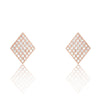 Rose Gold Plated 925 Sterling Silver CZ Rhombus Earrings