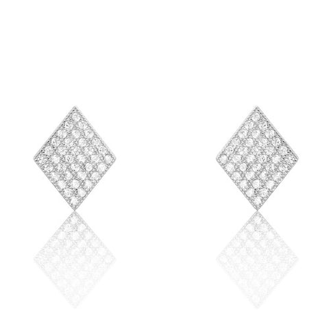 Sterling Silver Cubic Zirconia Rhombus Earrings - Jewelry - Prjewel.com - 1
