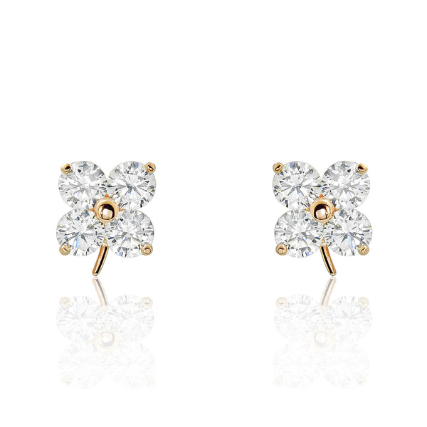 Rose Gold Plated 925 Silver Cubic Zirconia Four Stone Earrings - Jewelry - Prjewel.com - 1