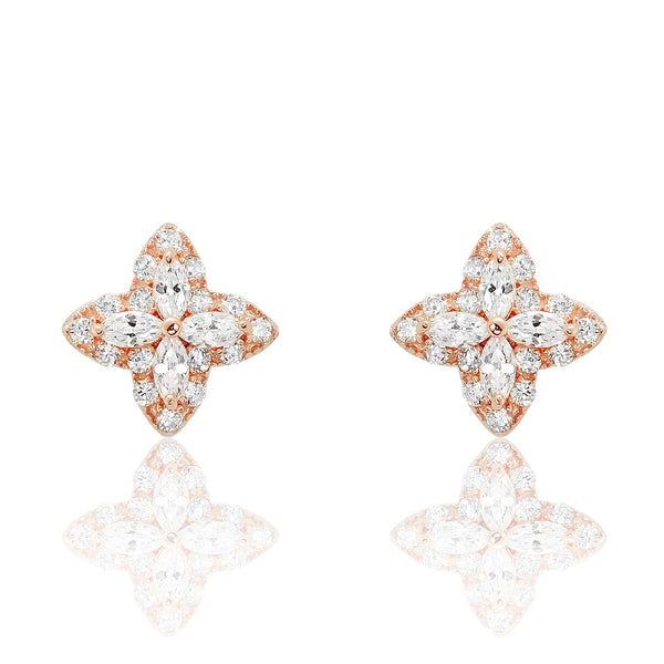 Charming Rose Gold Plated 925 Sterling Silver CZ Earrings - Jewelry - Prjewel.com - 1