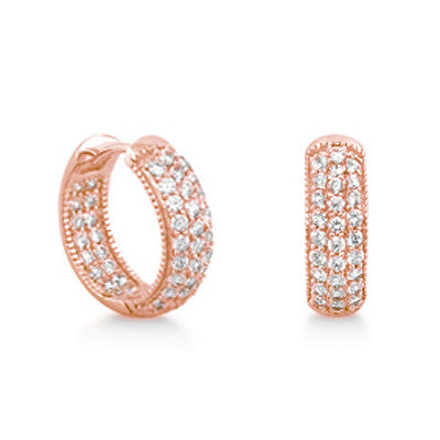 Rose Gold over Silver 0.9 Carat Cubic Zirconia Hoop Earrings - Jewelry - Prjewel.com - 1
