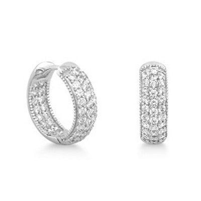Sterling Silver 0.9 Carat Cubic Zirconia Hoop Earrings - Jewelry - Prjewel.com - 1