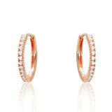Rose Gold Plated 925 Sterling Silver CZ Hoop Earrings - Jewelry - Prjewel.com - 1