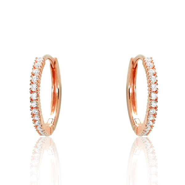 Rose Gold Plated 925 Sterling Silver CZ Hoop Earrings