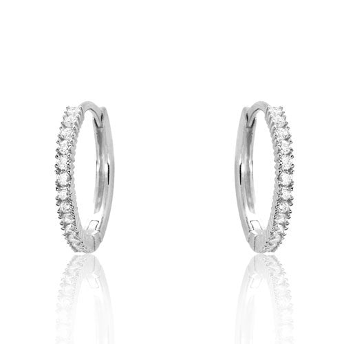Rhodium Plated 925 Sterling Silver CZ Hoop Earrings