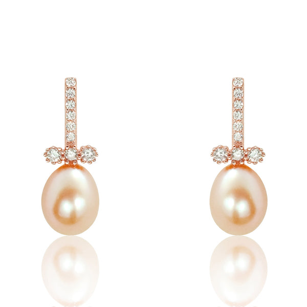 Freshwater Cultured Pearl Rose Gold Over Sterling Silver Earrings - Jewelry - Prjewel.com - 1