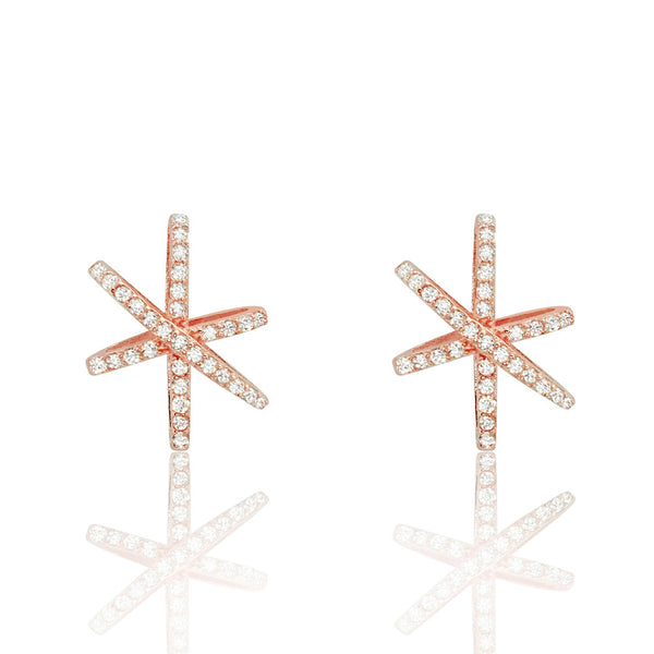 Charming Rose Gold Plated 925 Sterling Silver Pave Settings CZ Stud Earrings