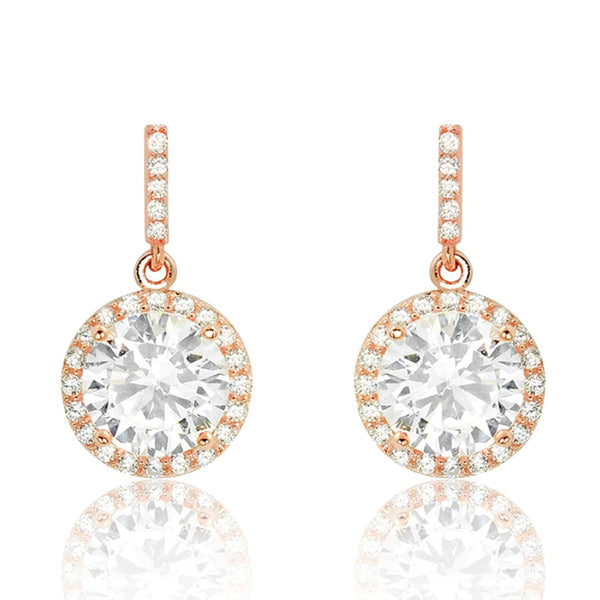Gorgeous Rose Gold Over 925 Silver Cubic Zirconia Drop Earrings