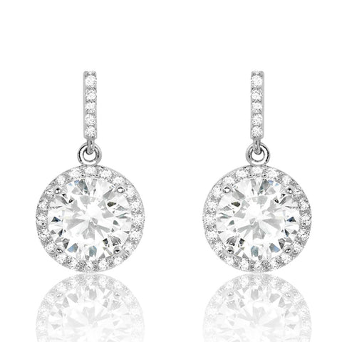 Gorgeous 925 Sterling Silver Cubic Zirconia Drop Earrings