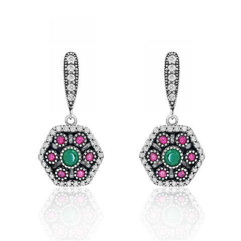 Magnificent 925 Sterling Silver Cubic Zirconia Multi Color Crystal Earrings