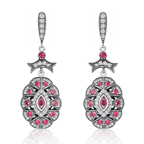Sterling Silver CZ Red Crystal Vintage Earrings
