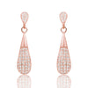 Fashion Drop Rose Gold Over Silver Pave Settings CZ Earrings