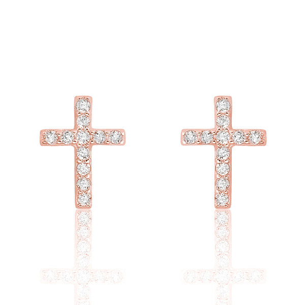Rose Gold Plated 925 Sterling Silver Beautiful Cross Cz Earrings