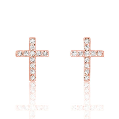 Rose Gold Plated 925 Sterling Silver Beautiful Cross Cz Earrings - Jewelry - Prjewel.com - 1