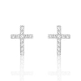 Sterling Silver Beautiful Cross Cubic Zirconia Earrings - Jewelry - Prjewel.com - 1