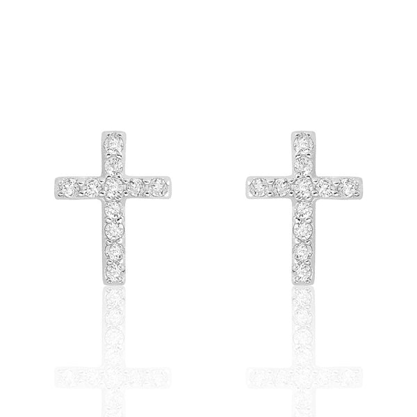 Sterling Silver Beautiful Cross Cubic Zirconia Earrings