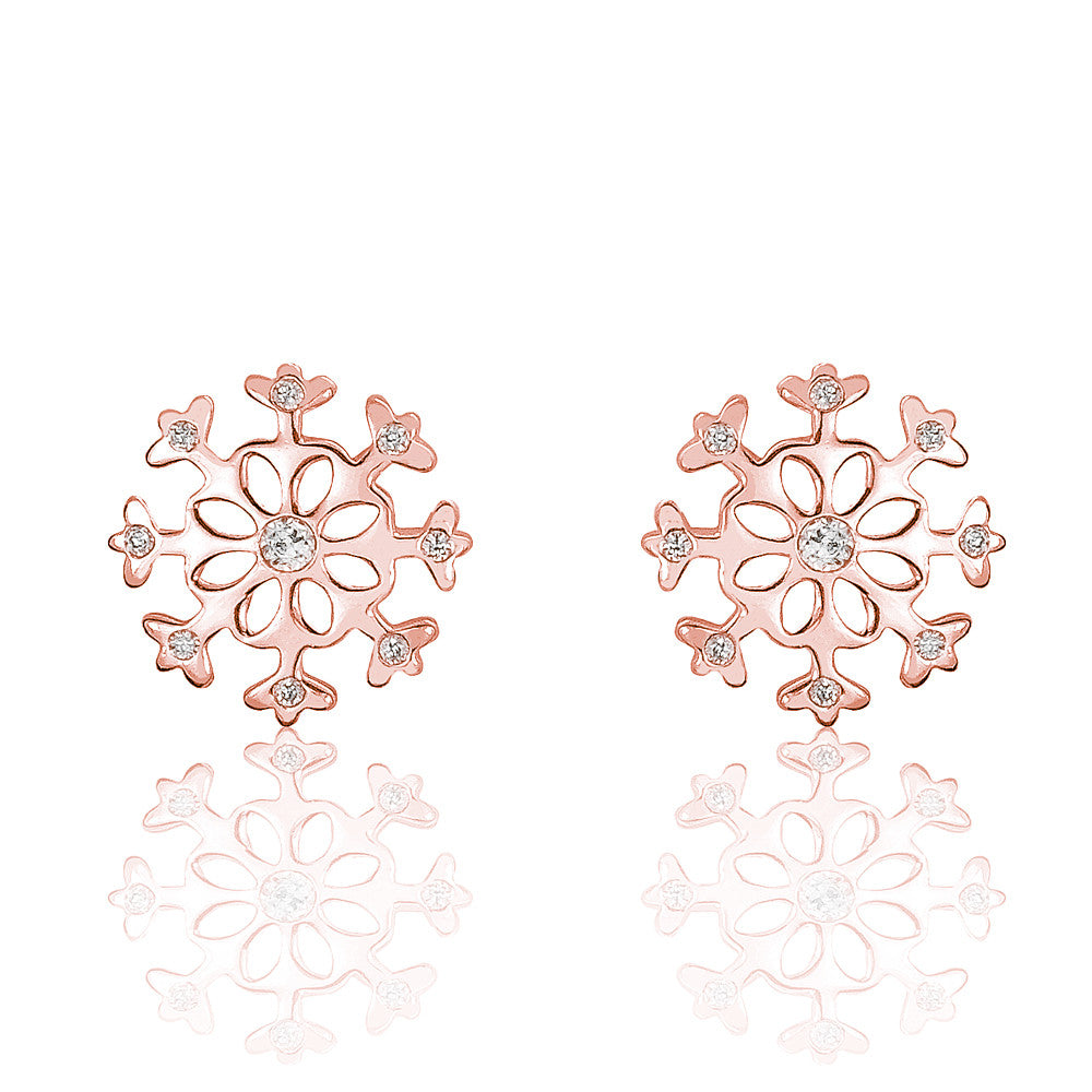 Gorgeous Rose Gold Plated 925 Silver CZ Snowflakes Earrings - Jewelry - Prjewel.com - 1
