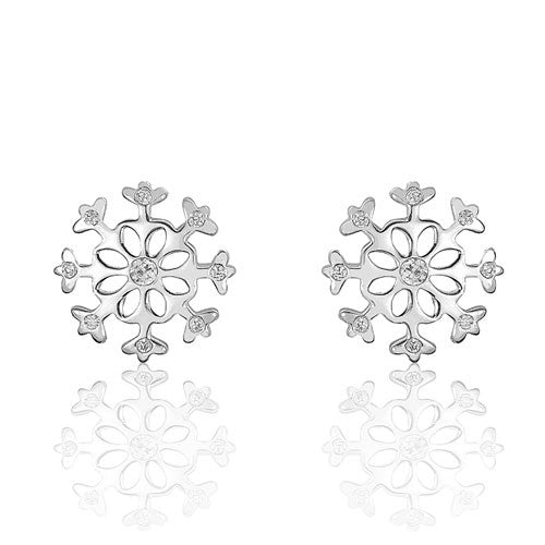 Gorgeous Sterling Silver Cubic Zirconia Snowflakes Earrings - Jewelry - Prjewel.com - 1