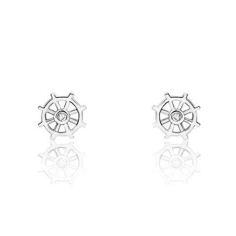 Sterling Silver Fashion Rudder Earrings