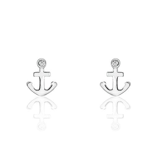 Sterling Silver Fashion Anchor Earrings