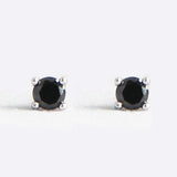 Sterling Silver 3mm CZ Black Stud Earrings - Jewelry - Prjewel.com - 1