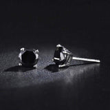 Sterling Silver 4mm CZ Black Stone Stud Earrings - Jewelry - Prjewel.com - 1