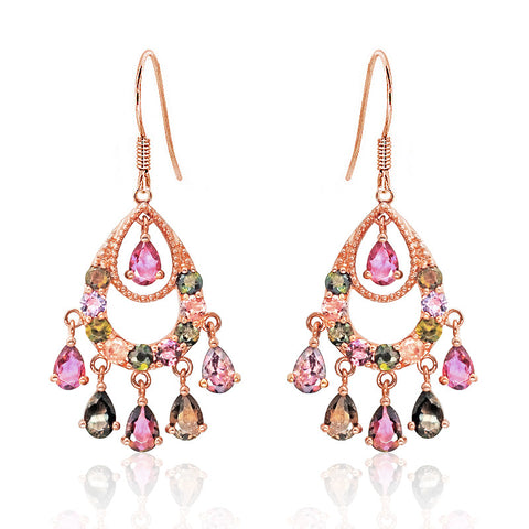 Rose Gold Over 925 Sterling Silver Natural Tourmaline Drop Earrings - Jewelry - Prjewel.com - 1