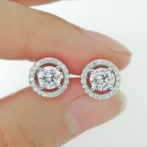 Stunning 925 Sterling Silver Cubic Zirconia Stud Earrings B