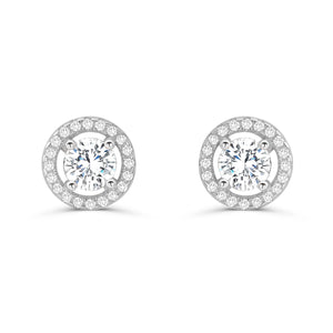 Stunning 925 Sterling Silver Cubic Zirconia Stud Earrings