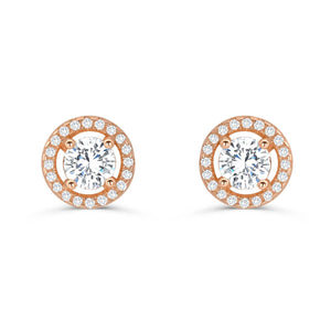 Stunning Rose Gold Plated Sterling Silver CZ Stud Earrings 2