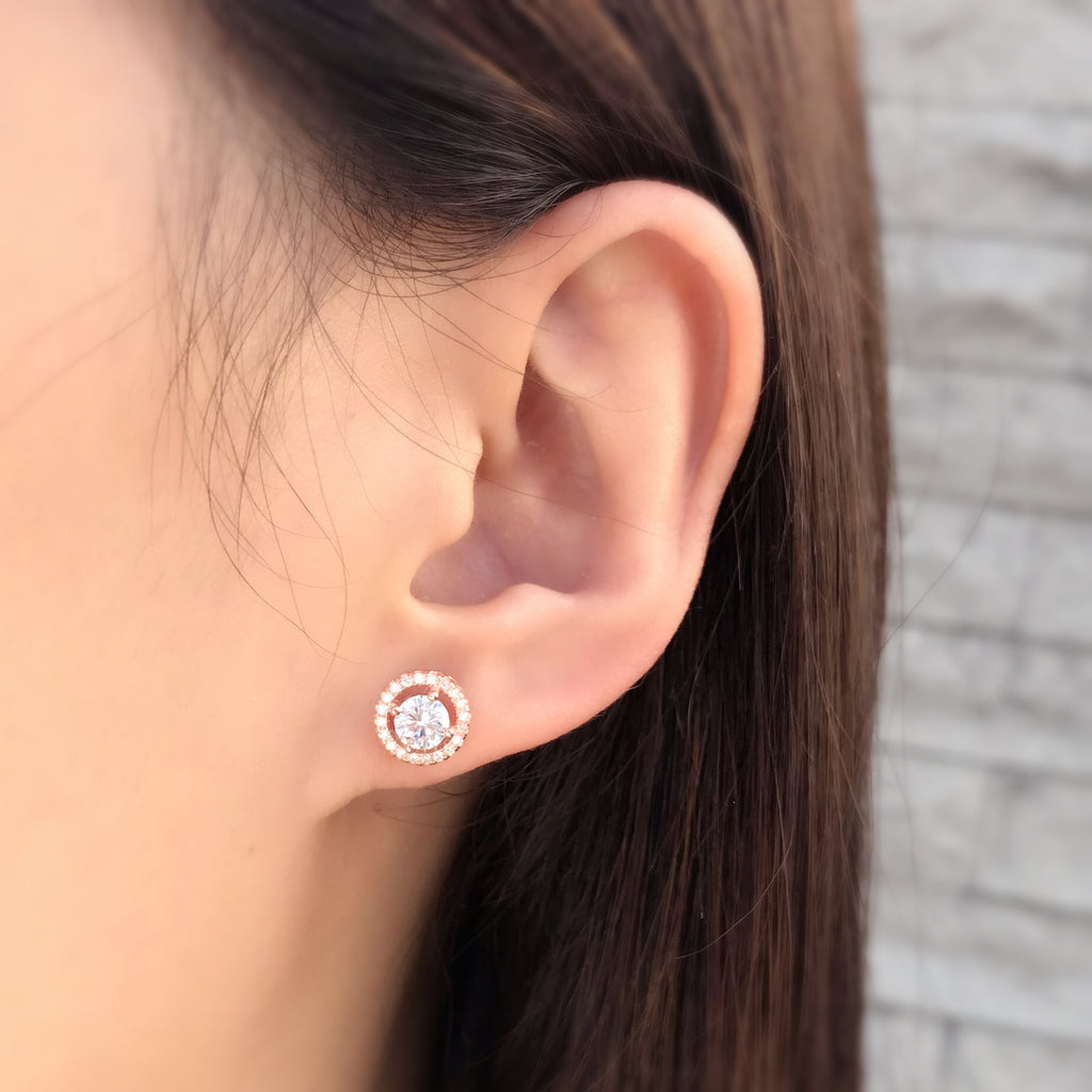 Stunning Rose Gold Plated Sterling Silver CZ Stud Earrings 4