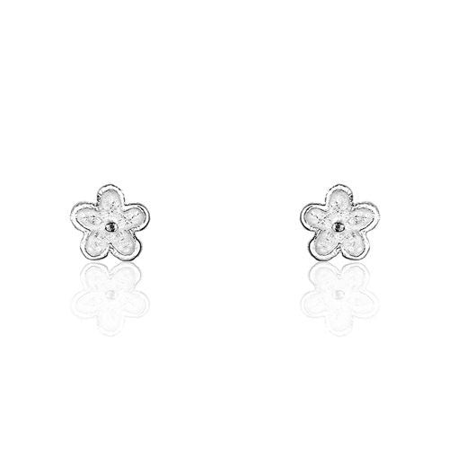 Sterling Silver Tiny Flower Earrings - Jewelry - Prjewel.com - 1