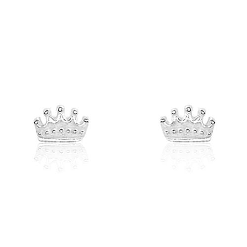 Sterling Silver Tiny Crown Earrings - Jewelry - Prjewel.com - 1