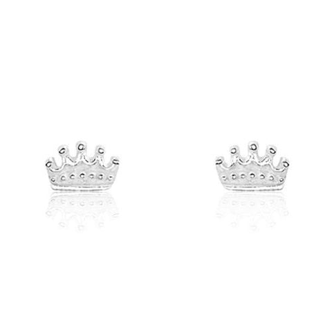 Sterling Silver Tiny Crown Earrings