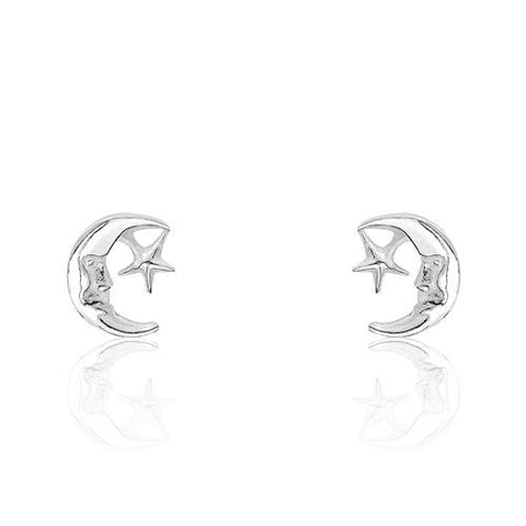 Sterling Silver Moon Star Earrings - Jewelry - Prjewel.com - 1