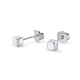 Handmade Square Post Silver Stud Earrings - Jewelry - Prjewel.com - 1