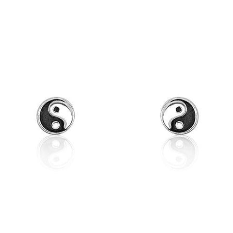 Sterling Silver Tiny Tai Chi Earrings - Jewelry - Prjewel.com - 1
