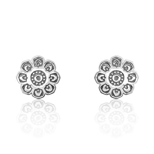 Sterling Silver Fancy Flower Earrings Stud