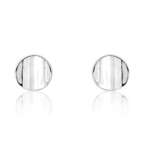 Polished Silver Fancy Disc Post Stud Earrings