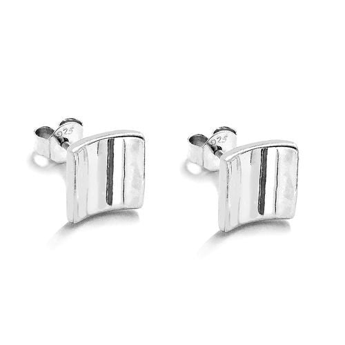 Polished Silver Fancy Square Post Stud Earrings