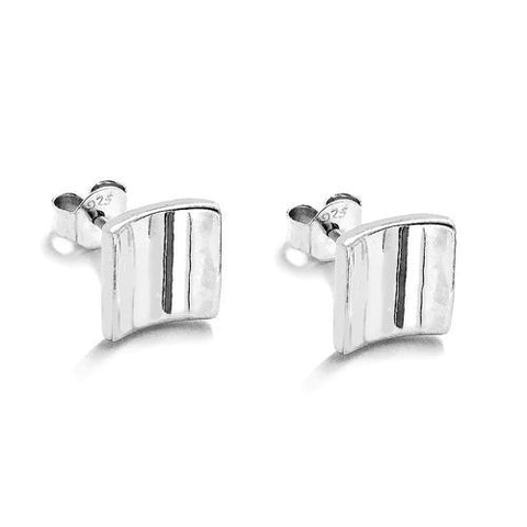 Polished Silver Fancy Square Post Stud Earrings - Jewelry - Prjewel.com - 1