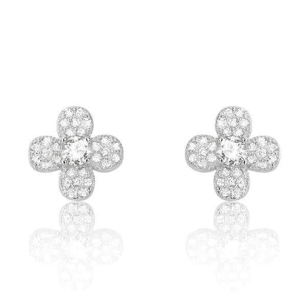 Sterling Silver Cubic Zirconia Four Leaf Clover Flower Earrings
