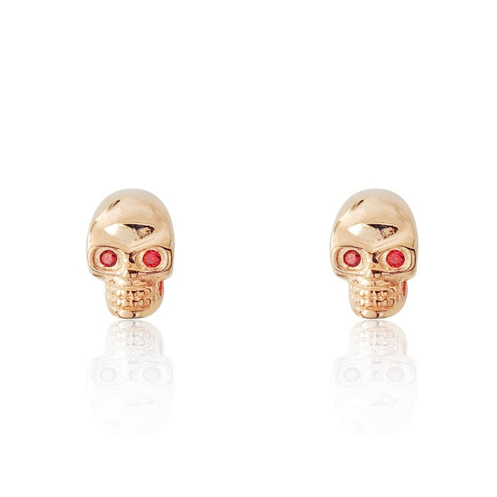 Rose Gold over Silver Skull Earrings