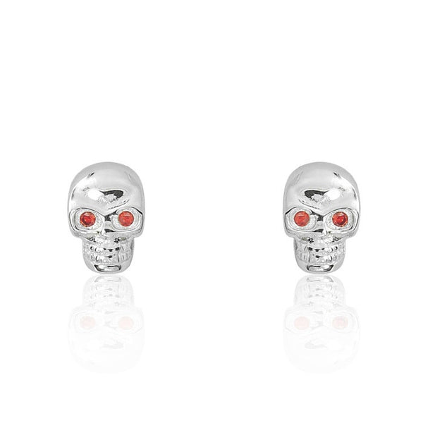 Red Crystal Sterling Silver Skull Earrings